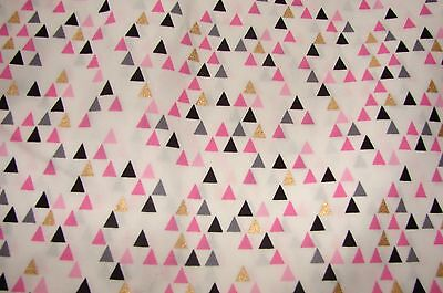 Pink & Grey Triangles White Cotton Poplin Fitted Cot Sheet Handmade