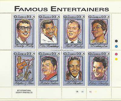 Gambia Famous Entertainers Mini Sheet Mint