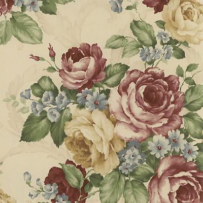 Victorian Cabbage Rose with Scroll Wallpaper CH22529 Double Roll FREE SHIPPING