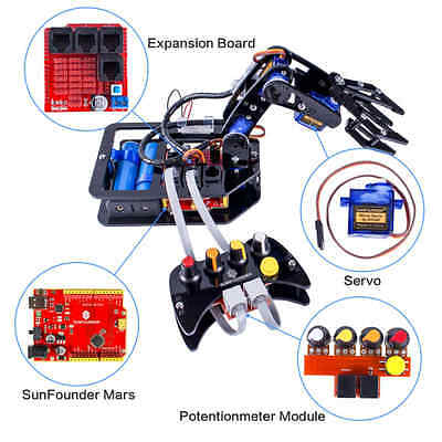 Robotic Arm kit 4-Axis Servo Control Rollarm with Wired Controller for Arduino