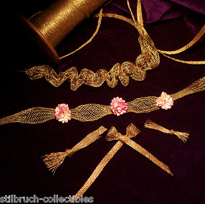 """Antique vintage weighty French Gold METAL Mesh Trim for ruching ribbon work 1/8"""""""