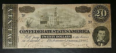 1864 $20 Confederate Note; C.S.A. Currency From Late Civil War Times