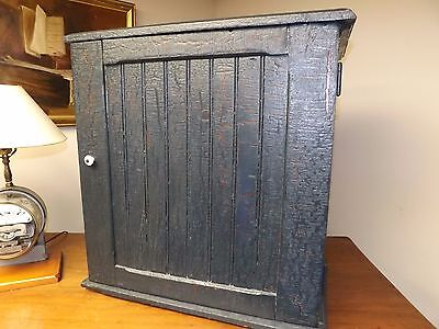 Antique Country Bead Board Pantry Wall Cupboard in Old Blue Paint. As Found