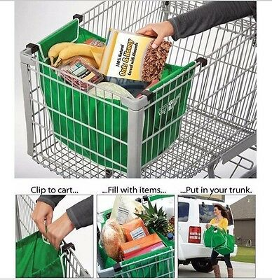 Shopping Cart Bag Reusable Grocery Clip Grab Trolley Folding Eco
