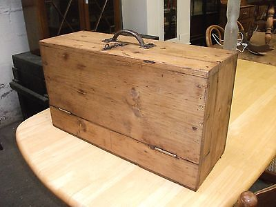 Unusual 2' Vintage Solid Pine Chest Fall Front Trunk Toy Storage Craft Hobby Box