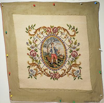 Vintage Antique Victorian Needle Point Chair Cover Tapestry