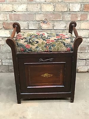 Antique Inlaid Piano Stool Drop Fall Storage