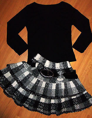 GIRLS BLACK TOP & GREY WHITE TARTAN WOOLLY RUFFLE PARTY SKIRT with BELT age11-12