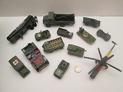 Dinky, Matchbox, Corgi Toys Military / Army Lot : Tanks Jeeps Launcher Spares.
