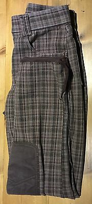 MUSTO Ladies Brown Check Breeches Knee Patches - Size 8