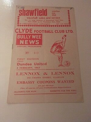 CLYDE v DUNDEE UNITED Football Programme 4th February 1967