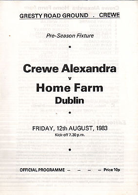 1983/84 Crewe Alexandra v Home Farm Dublin, friendly - PERFECT CONDITION