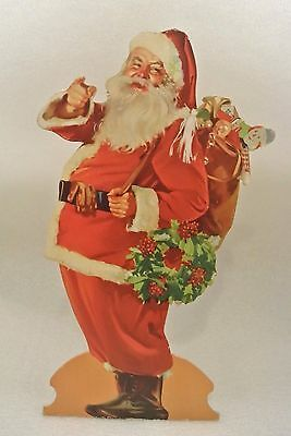 """VTG Santa Claus Cardboard Standee Stand Up Die Cut out 22"""" Large Christmas Litho"""