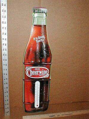"""Metal Drink Cheerwine Bottle soft drink cola 23"""" Thermometer store sign display"""