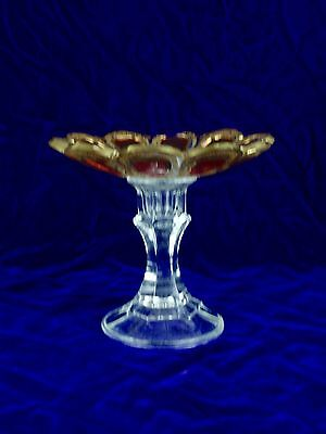 MOSER Bohemian Glass Cranberry and Gold Fluted Compote