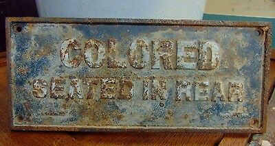 Black Americana Segregation Cast Iron Sign Colored Seated In Rear