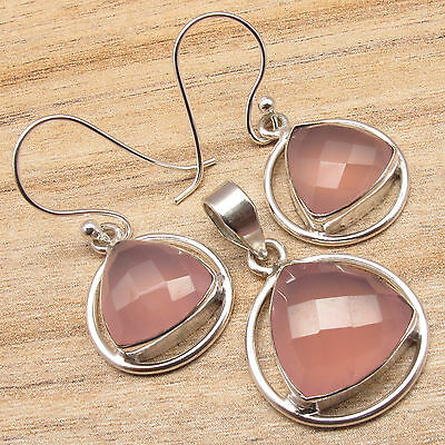 Birthstone MATCHING Gift ! 925 Silver Plated ROSE QUARTZ Earrings & Pendant SET