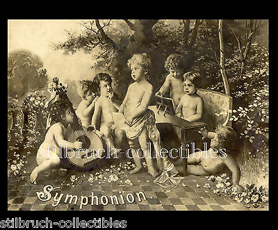 Symphonion Lid Cover Picture for Antique Music Box with cherubs angels (1)