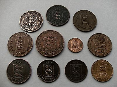 Channel Isle Coinage - Eleven Guernsey Coins with Various Dates & Denominations.