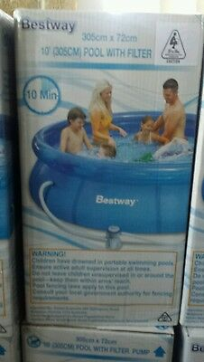 BESTWAY 10 FT Inflatable Outdoor Swimming Pool with Filter Pump 305 x 72cm