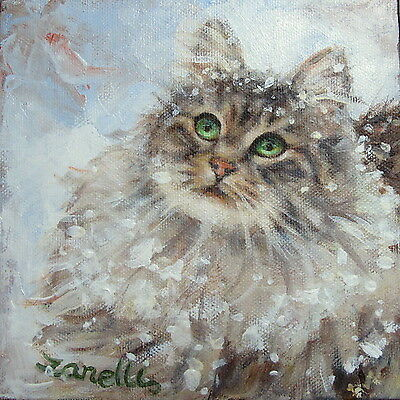 MAINE COON CAT Cards SET of 6 Blank Square Note Cards & Envs. GENTLE Tabby Kitty