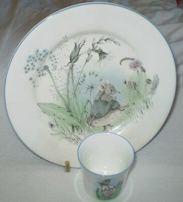 Elizabethan Fine Bone China Hand Decorated Mr Mouse Childs Egg Cup & Plate