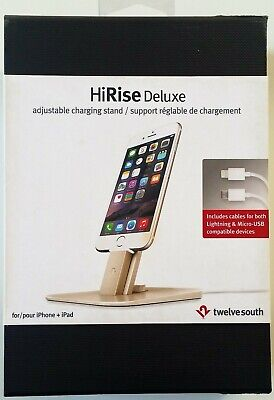 Twelve South Hirise Deluxe Iphone ipad Adjustable Charging Stand Gold Brand New