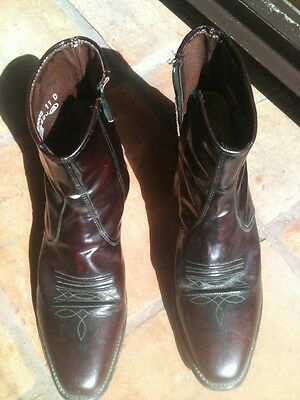 Mens Acme Cordovan Brown Western Work Motorcycle Zipper Boots 11D USA Cowboy