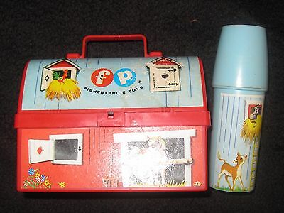 Vintage Fisher Price Farm lunch Box & Thermos Toy