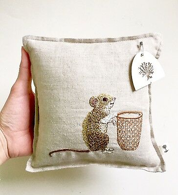 """Coral & Dusk Designer Mouse Tooth Fairy Linen Pillow with Pocket- 7"""" x 7"""" New"""