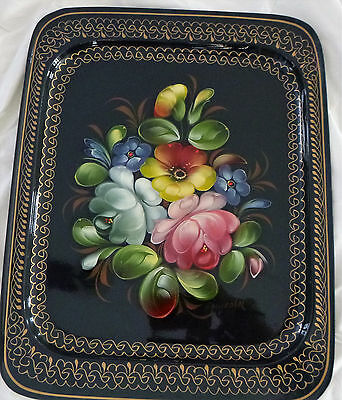 Hand Painted Initailed Floral Artwork Metal Russian Tea Tole Tray