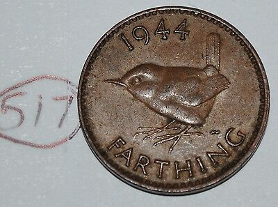 1944 Great Britain Farthing UK Coin KM# 843 Lot #517