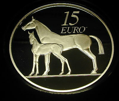 IRELAND 15 EURO SILVER PROOF COIN. 2010. LIMITED. HORSE. With Certificate