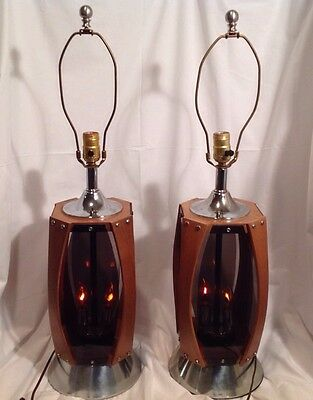 Vintage Pair Mid Century Modern Sculptural Walnut & Smoked Acrylic Table Lamps