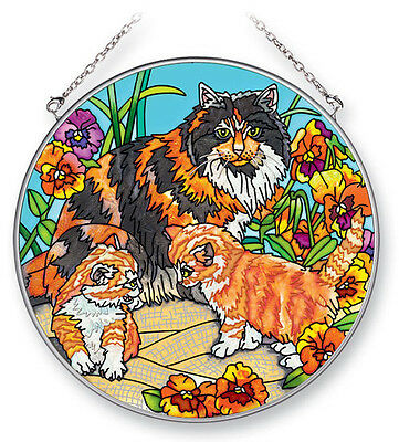 "CATS Pansy Flowers Orange Tabby Sun Catcher NEW Hand Painted 6 1/2"" Round Amia"