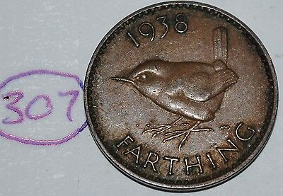 1938 Great Britain Farthing UK Coin KM# 843 Lot #307