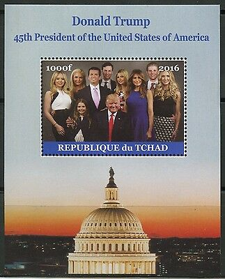 CHAD 2016 DONALD TRUMP 45th PRESIDENT OF THE US & FAMILY  SOUVENIR SHEET MINT NH