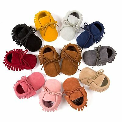 Kids Boy Girl Baby Shoes Infant Toddler Tassel Leather Cotton Moccasin 0-18M