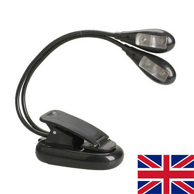 4 LED Flexible Book Reading Light Clip-on Music Stand Computer Lamp AAA Battery