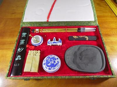 VINTAGE Chinese Calligraphy Writing Sumi Desk Gift Set