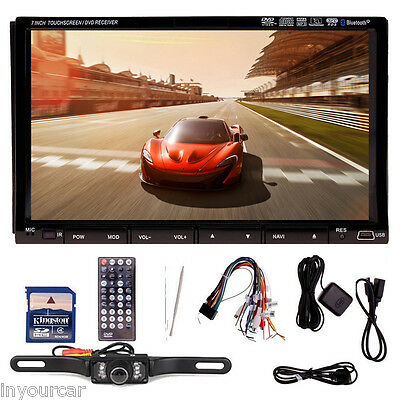 "Double 7"" 2 DIN Car GPS Navi Analog TV Stereo DVD Player Bluetooth Radio Camera"