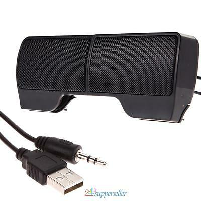Mini Portable USB Clip-on Stereo Speaker Sound bar for Notebook Laptop Mp3 PC