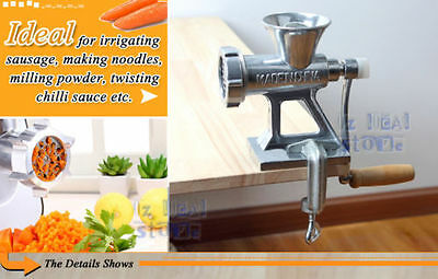 Meat Grinder Mincer Stuffer Table Hand Manual Sausage Filler Sauce Maker Machine