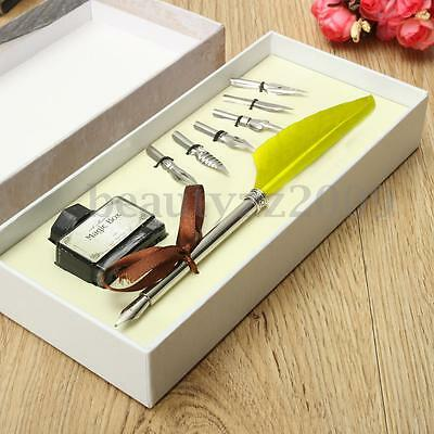 Vintage Feather Writing Fountain Caligraphy Dip Pen Quill ink Set With Box Gift