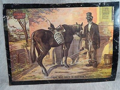 "Original Antique Metal GREEN RIVER WHISKEY sign 22"" x 15.75"""