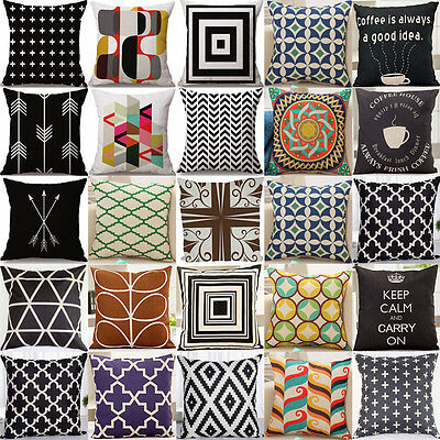 Geometric Vintage Linen Pillow Case Sofa Throw Cushion Cover Home Car Decoration