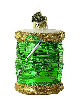 Green Spool of Thread Old World Christmas Ornament NWT glass sewing seamstress
