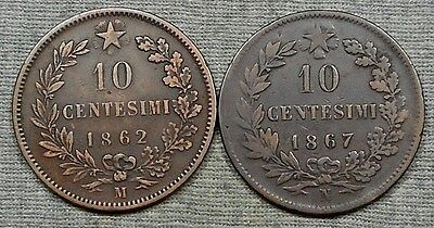Lot Of 2 Old Italy Copper Coins - 1862M & 1867N 10 Centesimi