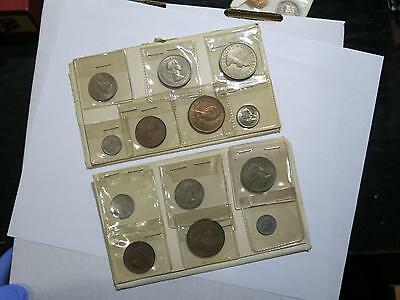 1964 1963 New Zealand Uncirculated Sets Florin Shilling Sixpence Penny 3 Pence