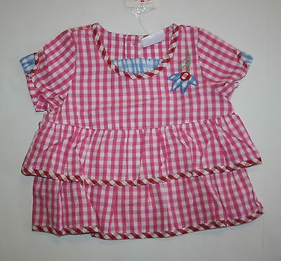 New Hanna Andersson Pink Gingham Ruffle Layer Top Tee Size 24m 80cm NWT